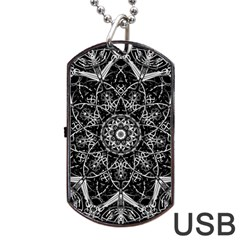 Mandala Psychedelic Neon Dog Tag Usb Flash (one Side) by Celenk
