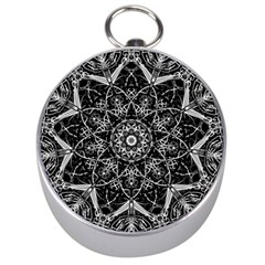 Mandala Psychedelic Neon Silver Compasses by Celenk