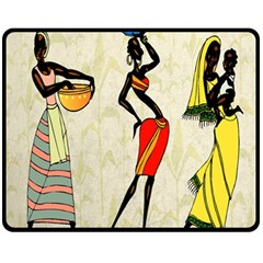 Woman Ethic African People Collage Fleece Blanket (medium)  by Celenk
