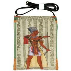 Egyptian Design Man Royal Shoulder Sling Bags by Celenk