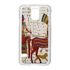Egyptian Tutunkhamun Pharaoh Design Samsung Galaxy S5 Case (white) by Celenk
