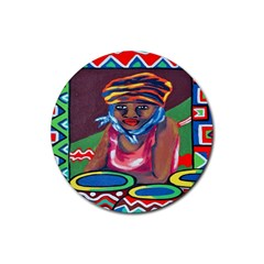 Ethnic Africa Art Work Drawing Rubber Round Coaster (4 Pack)