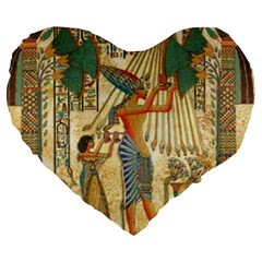 Egyptian Man Sun God Ra Amun Large 19  Premium Heart Shape Cushions by Celenk