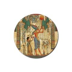 Egyptian Man Sun God Ra Amun Rubber Round Coaster (4 Pack)  by Celenk
