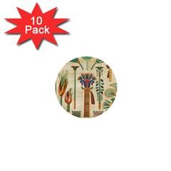 Egyptian Paper Papyrus Hieroglyphs 1  Mini Buttons (10 Pack)  by Celenk