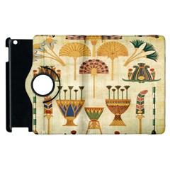 Egyptian Paper Papyrus Hieroglyphs Apple Ipad 2 Flip 360 Case by Celenk