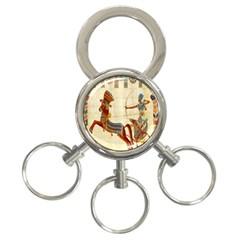 Egyptian Tutunkhamun Pharaoh Design 3 Ring Key Chains