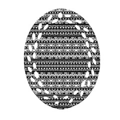 Zentangle Lines Pattern Oval Filigree Ornament (two Sides) by Celenk