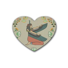 Egyptian Woman Wings Design Rubber Coaster (heart)  by Celenk