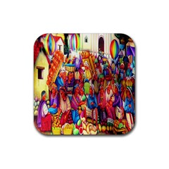 Guatemala Art Painting Naive Rubber Square Coaster (4 Pack)  by Celenk
