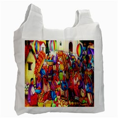 Guatemala Art Painting Naive Recycle Bag (two Side)  by Celenk