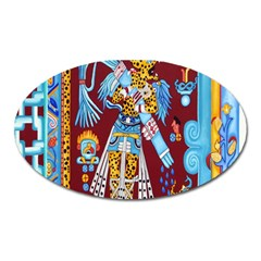 Mexico Puebla Mural Ethnic Aztec Oval Magnet by Celenk
