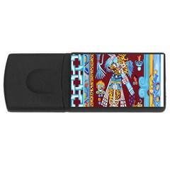 Mexico Puebla Mural Ethnic Aztec Rectangular Usb Flash Drive