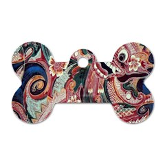 Indonesia Bali Batik Fabric Dog Tag Bone (two Sides) by Celenk