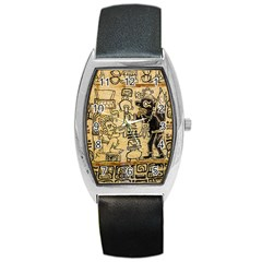 Mystery Pattern Pyramid Peru Aztec Font Art Drawing Illustration Design Text Mexico History Indian Barrel Style Metal Watch by Celenk