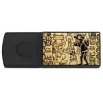 Mystery Pattern Pyramid Peru Aztec Font Art Drawing Illustration Design Text Mexico History Indian Rectangular USB Flash Drive