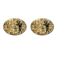Mystery Pattern Pyramid Peru Aztec Font Art Drawing Illustration Design Text Mexico History Indian Cufflinks (oval) by Celenk
