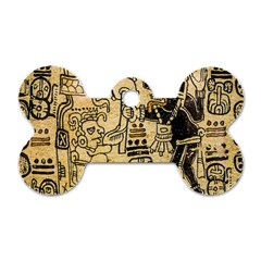 Mystery Pattern Pyramid Peru Aztec Font Art Drawing Illustration Design Text Mexico History Indian Dog Tag Bone (one Side) by Celenk