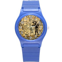 Mystery Pattern Pyramid Peru Aztec Font Art Drawing Illustration Design Text Mexico History Indian Round Plastic Sport Watch (s) by Celenk