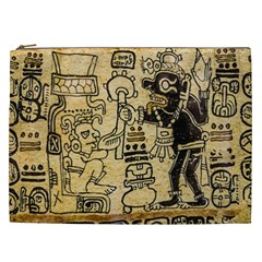 Mystery Pattern Pyramid Peru Aztec Font Art Drawing Illustration Design Text Mexico History Indian Cosmetic Bag (xxl)  by Celenk