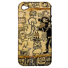 Mystery Pattern Pyramid Peru Aztec Font Art Drawing Illustration Design Text Mexico History Indian Apple Iphone 4/4s Hardshell Case (pc+silicone) by Celenk
