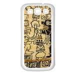 Mystery Pattern Pyramid Peru Aztec Font Art Drawing Illustration Design Text Mexico History Indian Samsung Galaxy S3 Back Case (White)