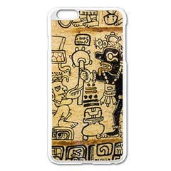 Mystery Pattern Pyramid Peru Aztec Font Art Drawing Illustration Design Text Mexico History Indian Apple Iphone 6 Plus/6s Plus Enamel White Case by Celenk