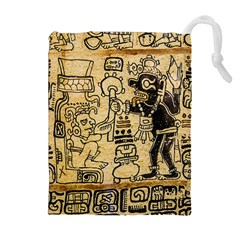 Mystery Pattern Pyramid Peru Aztec Font Art Drawing Illustration Design Text Mexico History Indian Drawstring Pouches (extra Large) by Celenk