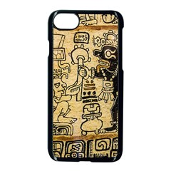 Mystery Pattern Pyramid Peru Aztec Font Art Drawing Illustration Design Text Mexico History Indian Apple Iphone 7 Seamless Case (black) by Celenk