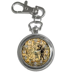 Mystery Pattern Pyramid Peru Aztec Font Art Drawing Illustration Design Text Mexico History Indian Key Chain Watches by Celenk