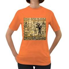 Mystery Pattern Pyramid Peru Aztec Font Art Drawing Illustration Design Text Mexico History Indian Women s Dark T Shirt by Celenk