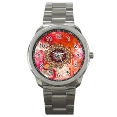 Mandala Art Design Pattern Ethnic Sport Metal Watch by Celenk