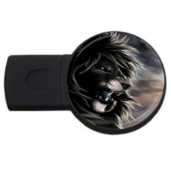 Angry Lion Digital Art Hd Usb Flash Drive Round (2 Gb) by Celenk
