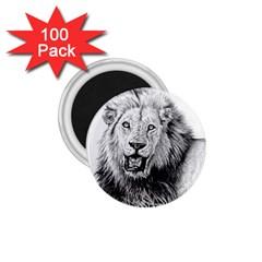 Lion Wildlife Art And Illustration Pencil 1 75  Magnets (100 Pack)  by Celenk