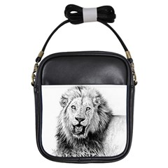 Lion Wildlife Art And Illustration Pencil Girls Sling Bags by Celenk
