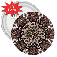 Mandala Pattern Round Brown Floral 3  Buttons (10 Pack)  by Celenk
