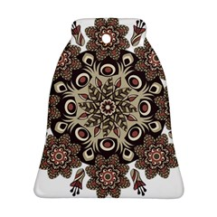 Mandala Pattern Round Brown Floral Ornament (bell) by Celenk