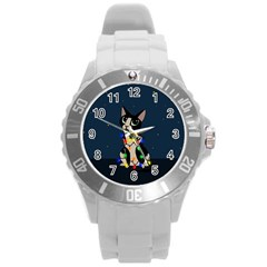 Meowy Christmas Round Plastic Sport Watch (l) by Valentinaart