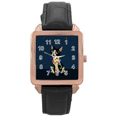 Meowy Christmas Rose Gold Leather Watch  by Valentinaart