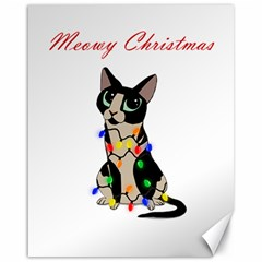 Meowy Christmas Canvas 16  X 20   by Valentinaart