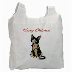 Meowy Christmas Recycle Bag (one Side) by Valentinaart