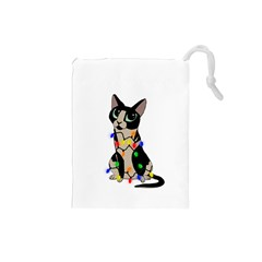 Meowy Christmas Drawstring Pouches (small)  by Valentinaart