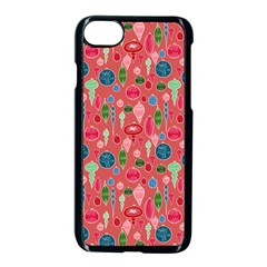 Vintage Christmas Hand Painted Ornaments In Multi Colors On Rose Apple Iphone 8 Seamless Case (black) by PodArtist