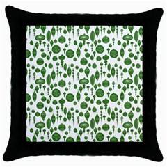 Vintage Christmas Ornaments In Green On White Throw Pillow Case (black) by PodArtist