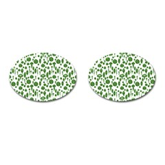 Vintage Christmas Ornaments In Green On White Cufflinks (oval) by PodArtist