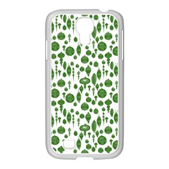 Vintage Christmas Ornaments In Green On White Samsung Galaxy S4 I9500/ I9505 Case (white) by PodArtist