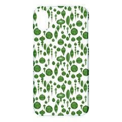 Vintage Christmas Ornaments In Green On White Apple Iphone X Hardshell Case
