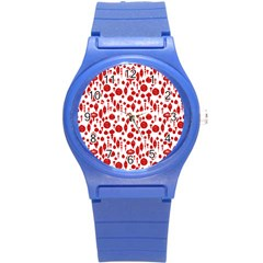Vintage Christmas Ornaments In Red On White Round Plastic Sport Watch (s) by PodArtist
