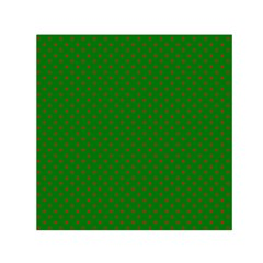 Mini Red Dots On Christmas Green Small Satin Scarf (square)