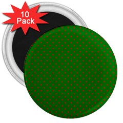 Mini Red Dots On Christmas Green 3  Magnets (10 Pack)  by PodArtist